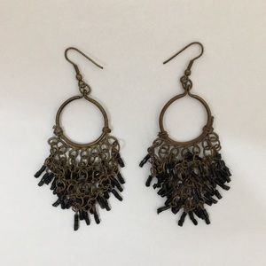 UEC Brass colored earring with black beading